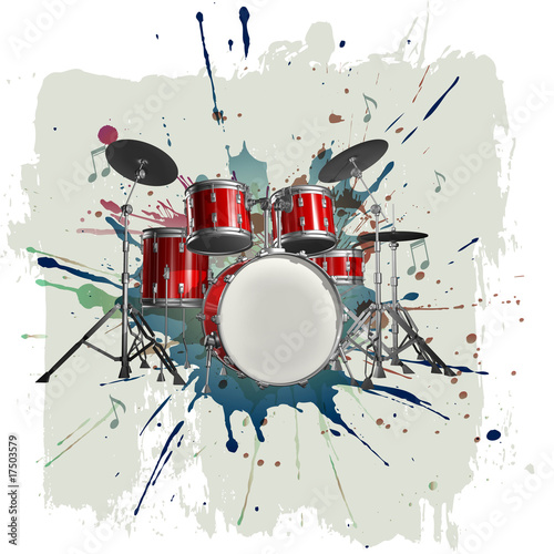 Leinwanddruck Bild Drum kit on grunge background