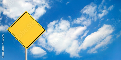 A blank yellow traffic sign ready for your text!