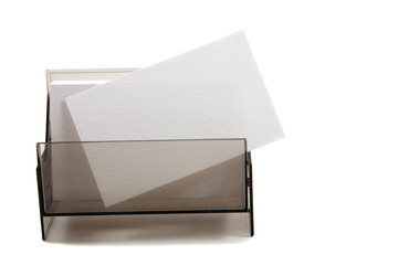 White blank name card in a box