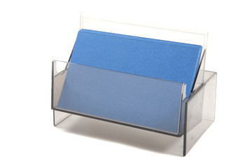 Blue empty business  cards in a box
