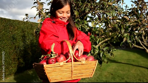 Apple woman collecting and eating