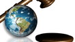 The Earth and a gavel. Concept of justice