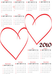 2010 calendar with blank hearts for photos