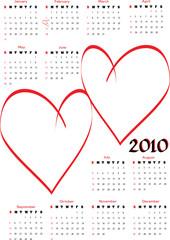 2010 calendar with blank hearts for photos