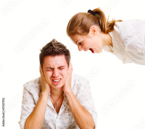 young woman screaming at man