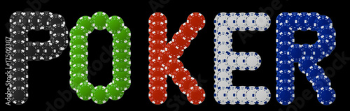 Poker written with poker chips