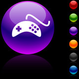 Gamepad glossy icon. Vector illustration. poster