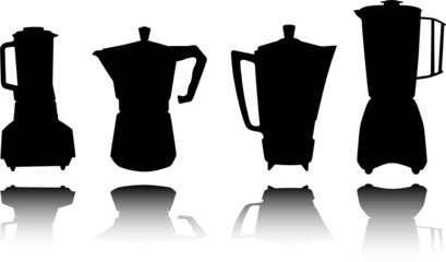 kitchen coffe tool vector silhouettes