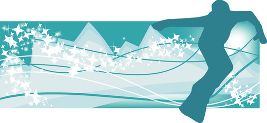 Abstract snowboarder.