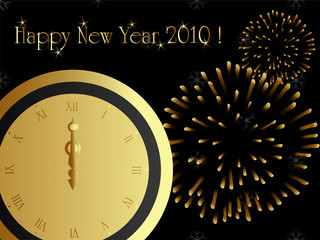 2010 new year card with firework and midnight clock.