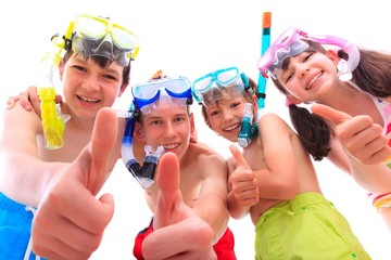 Happy children in snorkels