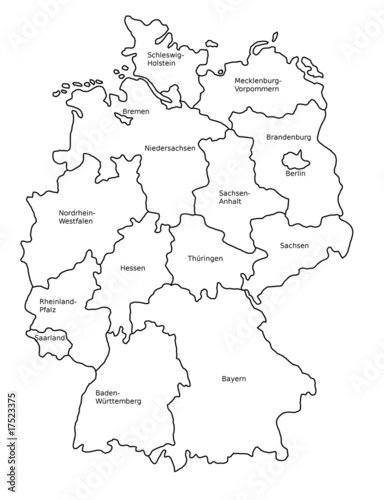 Deutschland Karte Bundesländer Schwarz Weiß.Deutschland Und Die Bundesländer Karte