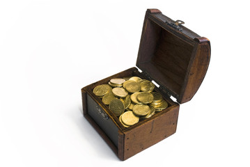Treasure chest with golden euro money