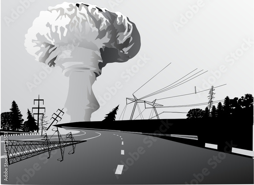atomic explosion cloud above road