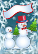 Funny snowmans. Vector  illustration.