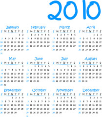 Vector calender 2010. To see similar, please visit my gallery