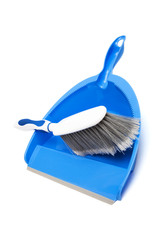 blue dustpan and brush