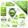 Set of green sale tickets and labels