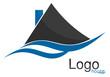 Logo maison vagues bleu gris