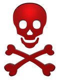 Ruby skull and crossbones isolated on white poster