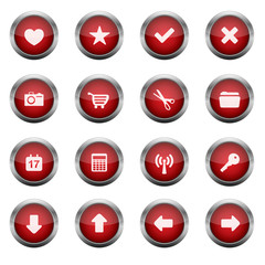 Red Glossy Vector Button Set 2