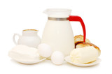 Set of dairy products isolated on white background poster