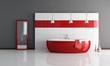fashion red and white bathroom