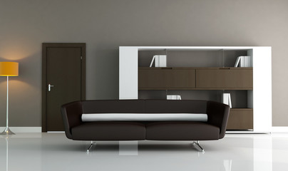 minimalist brown interior