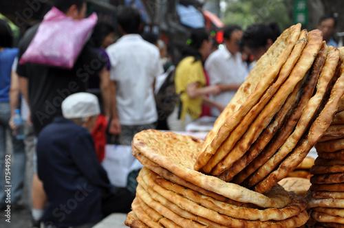 Keuken foto achterwand Boodschappen Muslim bread in Xian, China