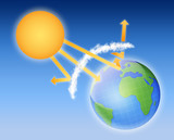 earth atmosphere greenhouse effect scheme with sun rays poster
