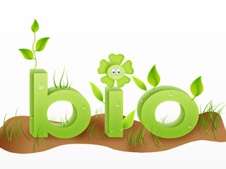 bio word with grass, flower, leafes in green. eco concept
