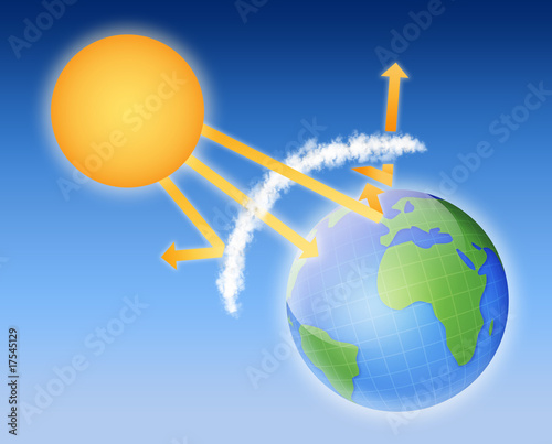 earth atmosphere greenhouse effect scheme with sun rays