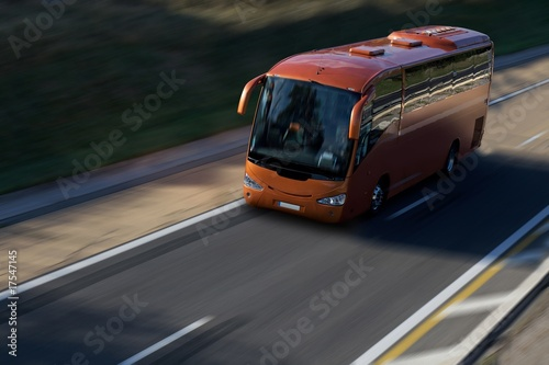 speed red bus on highway - 17547145