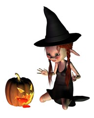 Halloween Goblin Witch with Pumpkin Lantern