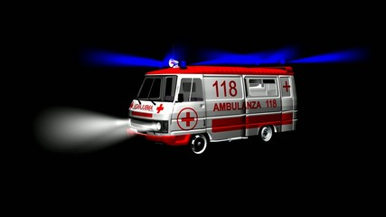 Ambulanza con lampeggianti