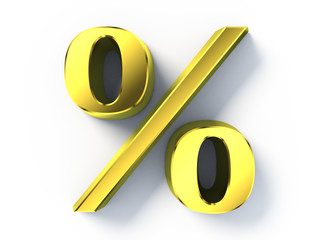 Gold 3d percent sign on white background