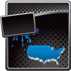 United states icon on black halftone grungy banner