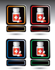 Medicine bottle on multicolored framed nameplates