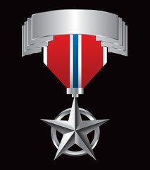 Military medal hanging from silver display