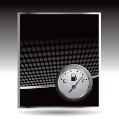 Gas gauge on black halftone advertisement