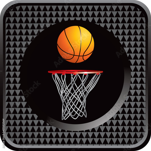 Basketball and hoop on black checkered web button