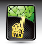 Fan hand on green cracked background poster