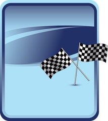 Racing checkered flags on blue advertisement