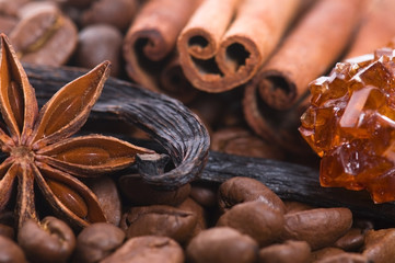 aroma coffe. ingredients. coffe beens, anise, vanilla, cinnamon,