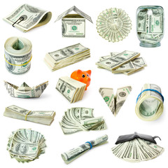 collection of money isolated on white