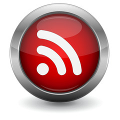 Red Glossy Vector Button - RSS Feed