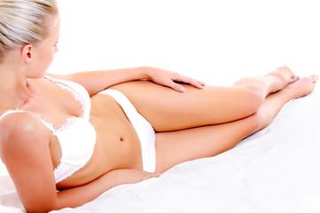 Beautiful woman body in white  lingerie