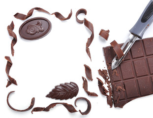Chocolate, table, pieces, on white background