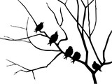 migrating starling on branch tree poster