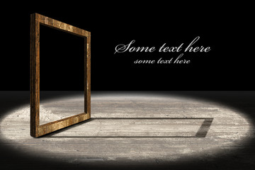 Old wooden frame on stage-text easy to remove